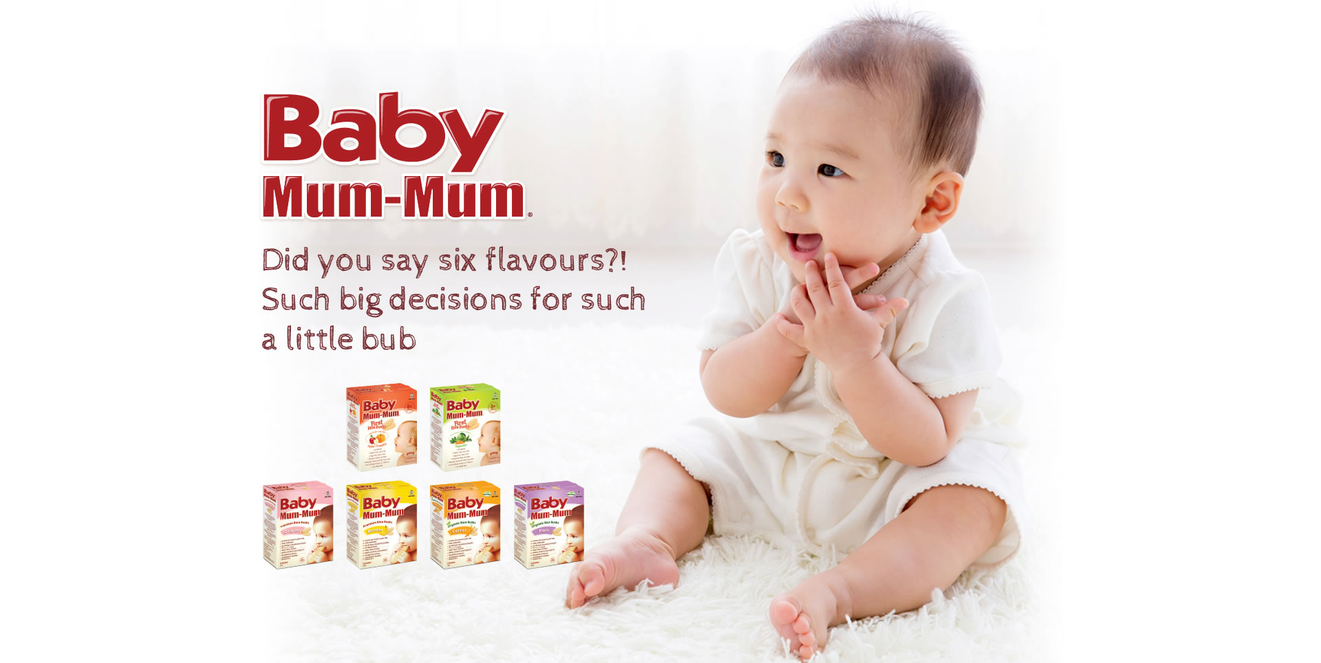 Happy baby with Baby Mum Mum product range