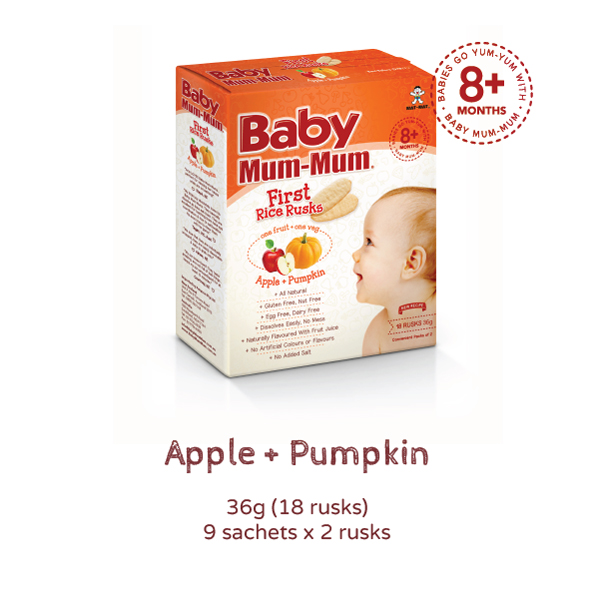 Baby Mum mum first Rice Rusks Apple + Pumpkin Product