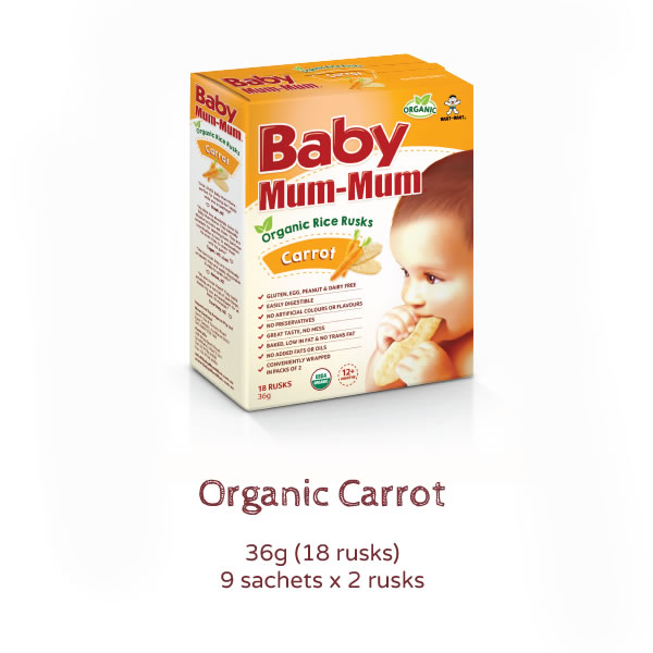 Baby Mum Mum Organic Rice Rusks Carrot Product